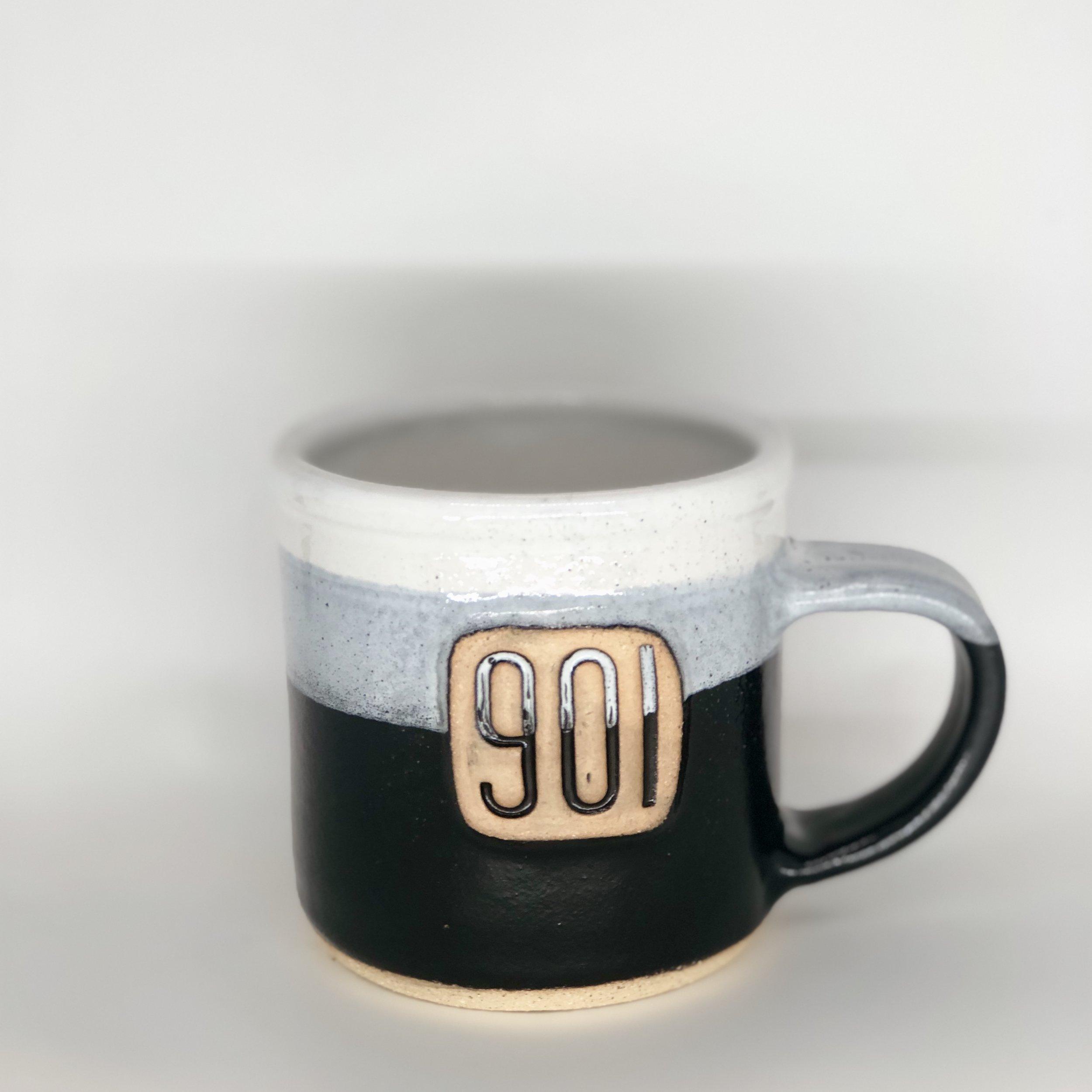 901 Mug, Short Mug, White / Black Color