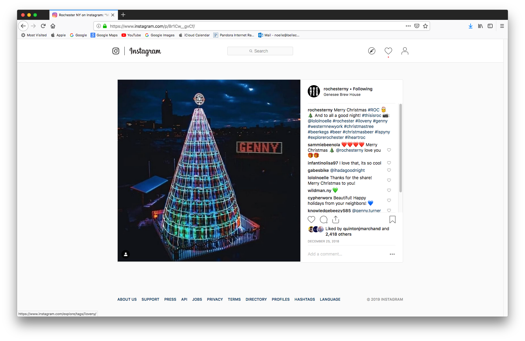 A Rochester Merry Christmas - Our picture of the Genesee Brew House keg tree was featured on a number of Instagram pages around the 2018 holidays: Rochester NY, I Heart Roc (also making their top 9 of 2018), In the City of Flowers and more.