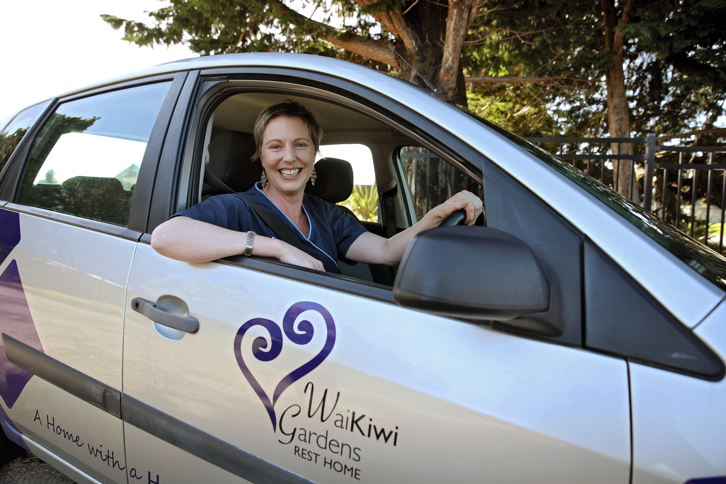 Deanna out and about in the Waikiwi Gardens car
