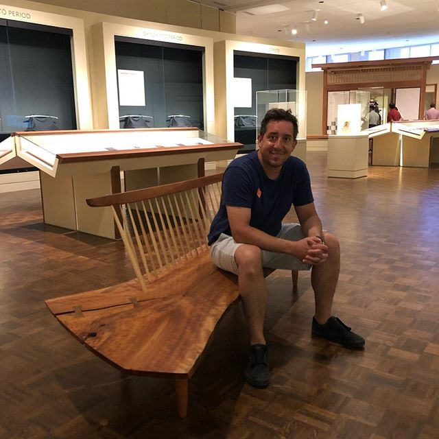 So here's a good story. Before Indy Urban Hardwood came to be. I worked for museums and galleries installing art. I worked at the IMA now @newfieldstoday for quite some time as a art installer. We remodeled the Asian galleries during my tenure. When our designer the late Sherman O'Hara wanted to place some new benches in the Japanese gallery. I went bonkers and told hem we MUST order some #georgenakashima benches from his studio. Made by his daughter Mira who still maintains the studio. Well low and behold he went for it. Now for the past 15 or more years the visitors of the permanent collection can sit and enjoy the vistas in the galleries on a real Nakashima bench... So for you newish live edge makers. Go see a real one and take a seat! I was thinking about you! #nakashima #newhopepa #furniture #furnituredesign #interiordesign #liveedgefurniture #makersgonnamake