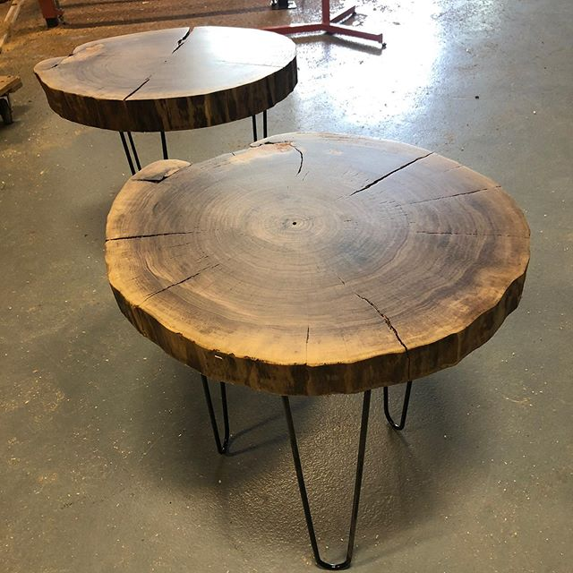 Knocked out 2 #walnutcookie side tables today. I needed a few mins of some sort of creativity. We have been milling allot of material and it drives you a little bonkers. #urbanlumber #indianapolis #indy #keepindyindie #liveedgetable #interiordesign