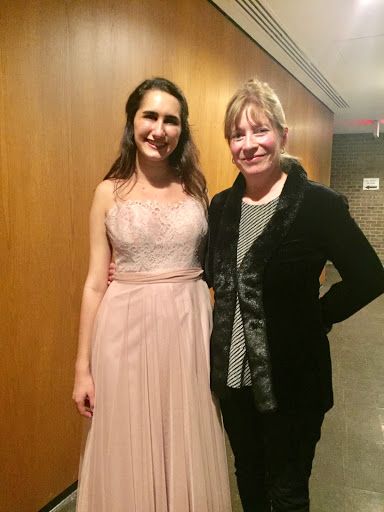 Elaine Christy with Princeton University senior harp student, Julia Schorn after her fantastic senior solo harp recital!