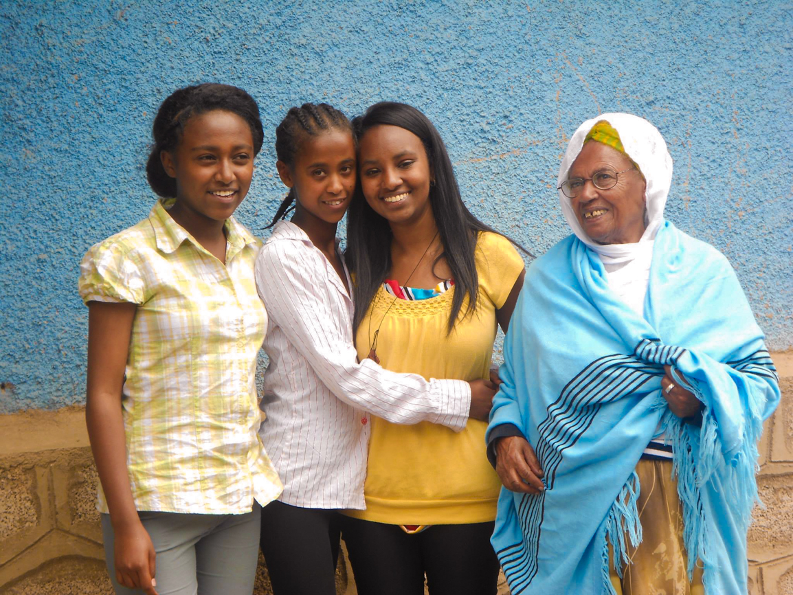 Lily with her cousins and grandmother (Ethiopia, 2014)