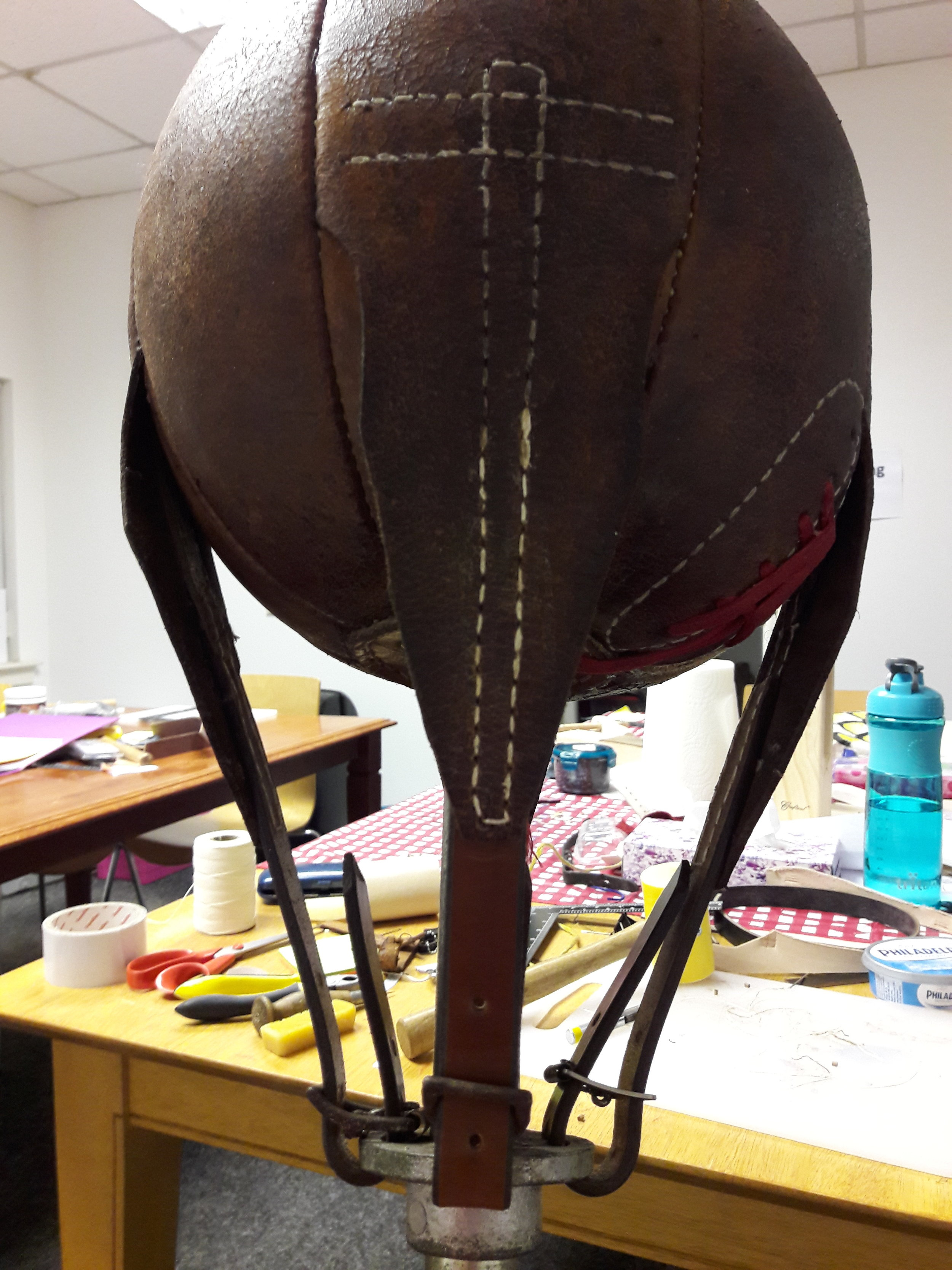 Family heirloom - leather punchball - Straps were worn out so replaced with new.