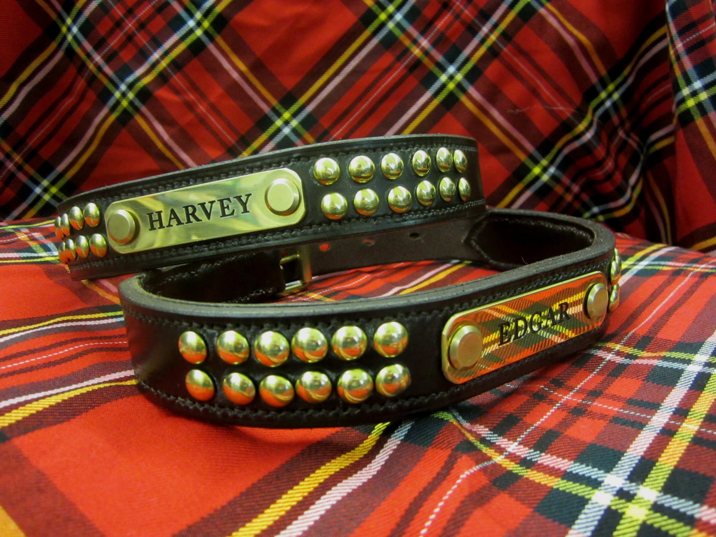 Special request dog collars - These were made as copies of some treasured well-worn collars. The lovely engraved nameplates are made for us by a local company.