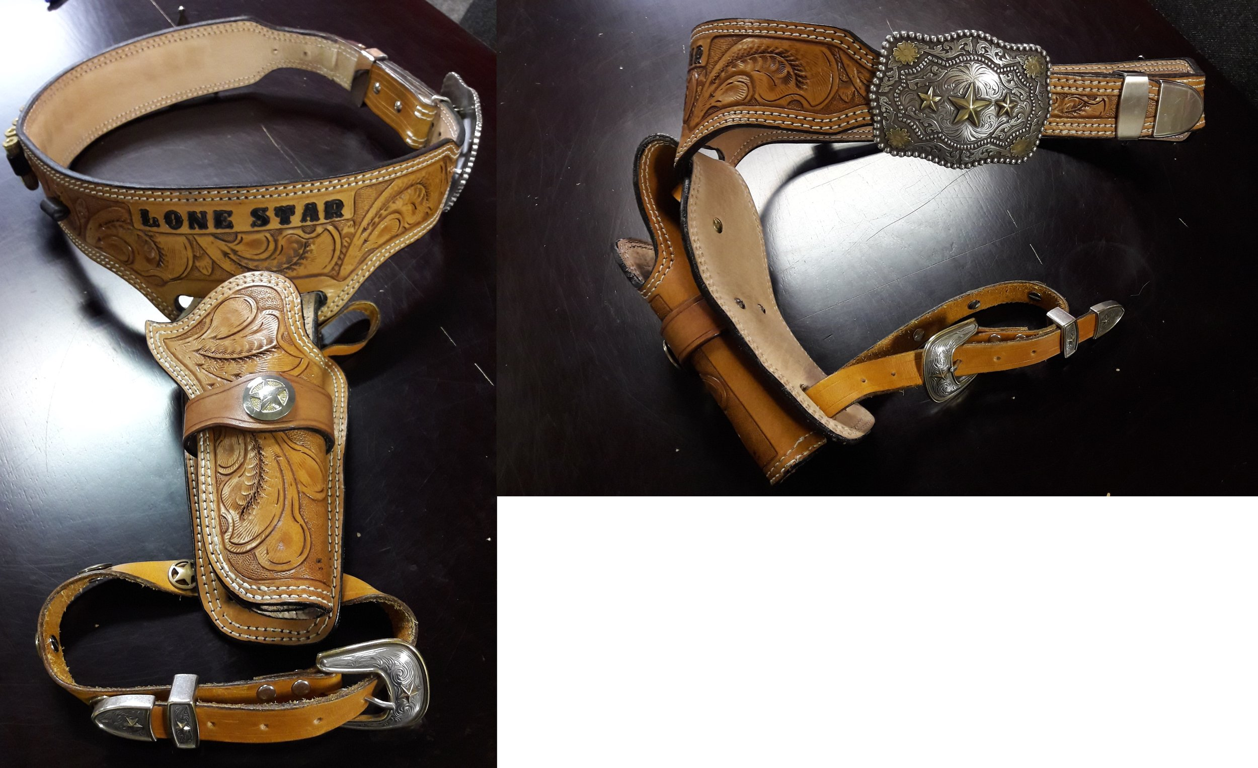 This lovely C&W rig needed a bit of adjustment.. - We have carried out a number of adjustments including added a new legstrap, altering the belt length to realign the buckle in the centre and adding depth to the holster.