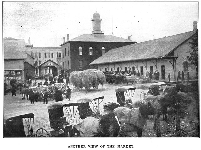 Kitchener Farmer's Market. View of 1872 market (building on the right) in 1906 a year before it was rebuilt.