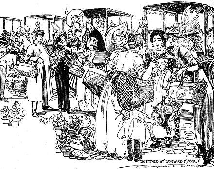 Drawing by Marguerite Martyn of Soulard Market, St. Louis, Missouri, in 1912.