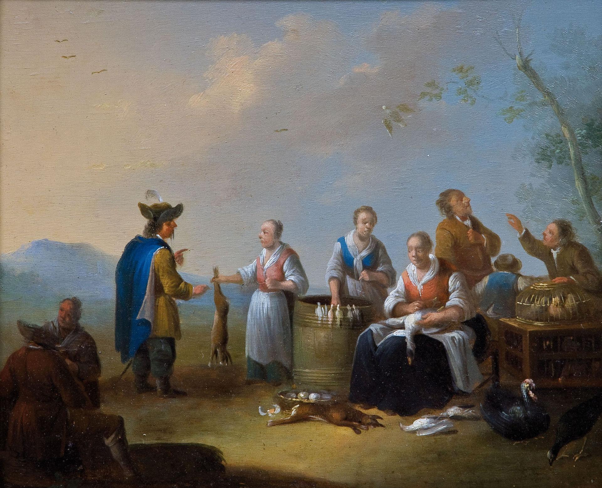 Auf dem Vogelmarkt (women offering hares and wild birds), 18th-19th century.
