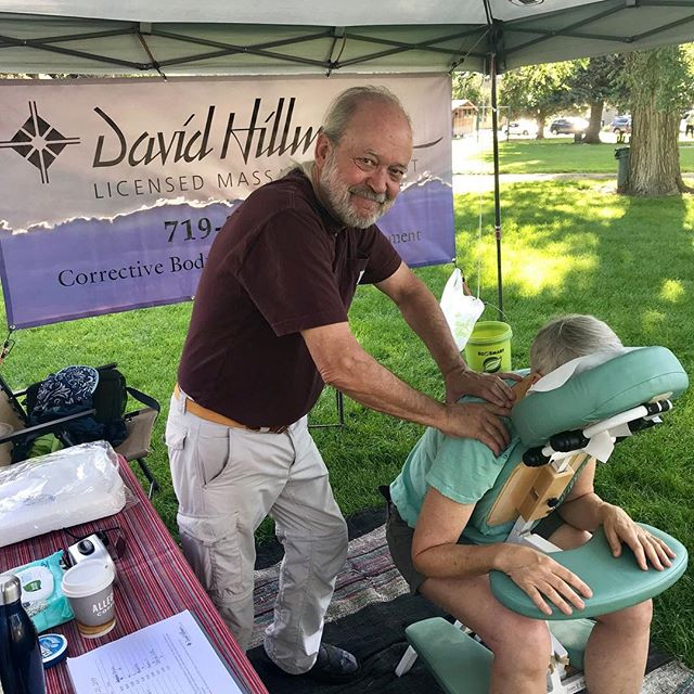 VENDOR SPOTLIGHT  David Hillman, LMT - Corrective Bodywork for Pain Management  David Hillman offers the most relaxing and healing chair massages at the #salidacolorado #farmersmarket every Saturday from 8 am - 1 pm. David employs an anatomically specific approach to assess the source of your discomfort and then layers on a range of modalities targeted at releasing muscles that are tight or in spasm.  David has been a massage therapist for over 20 years and has been offering his healing services at the market for over 9 years. He also has a studio in downtown Salida, where he offers table massage.  #foodshedalliance #eatfresh #buylocal #salidastyle