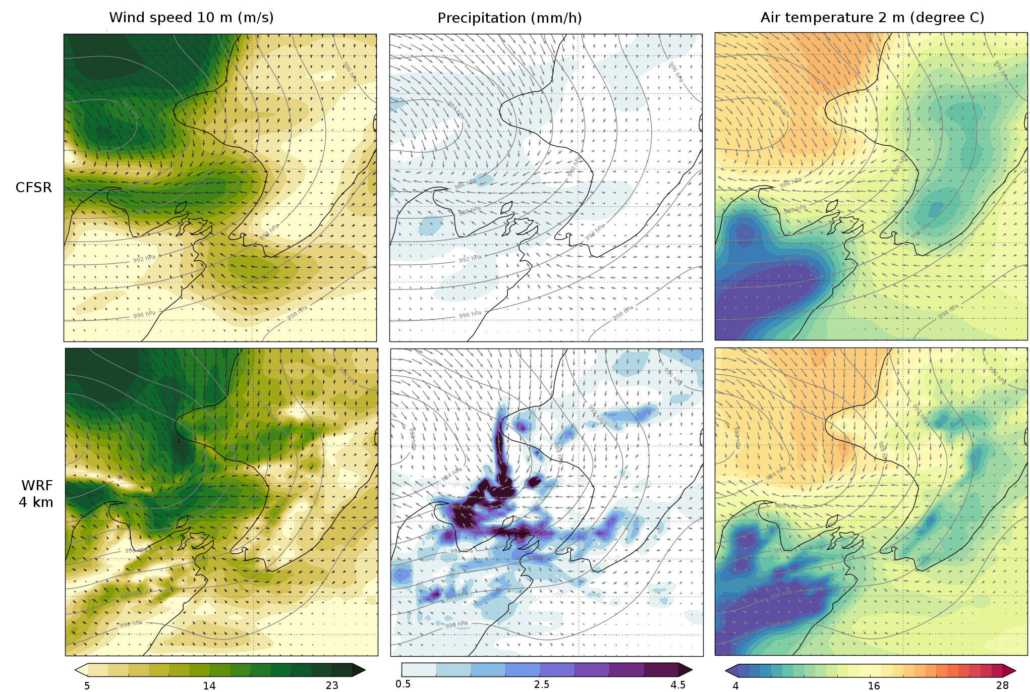 Top panels show low-resolution atmospheric products available globally from CFSR. The lower panels show the benefit of increasing the resolution in a New Zealand specific context around regions of complex topography such as the Cook Strait. Higher resolution modelling increases the accuracy of the data.