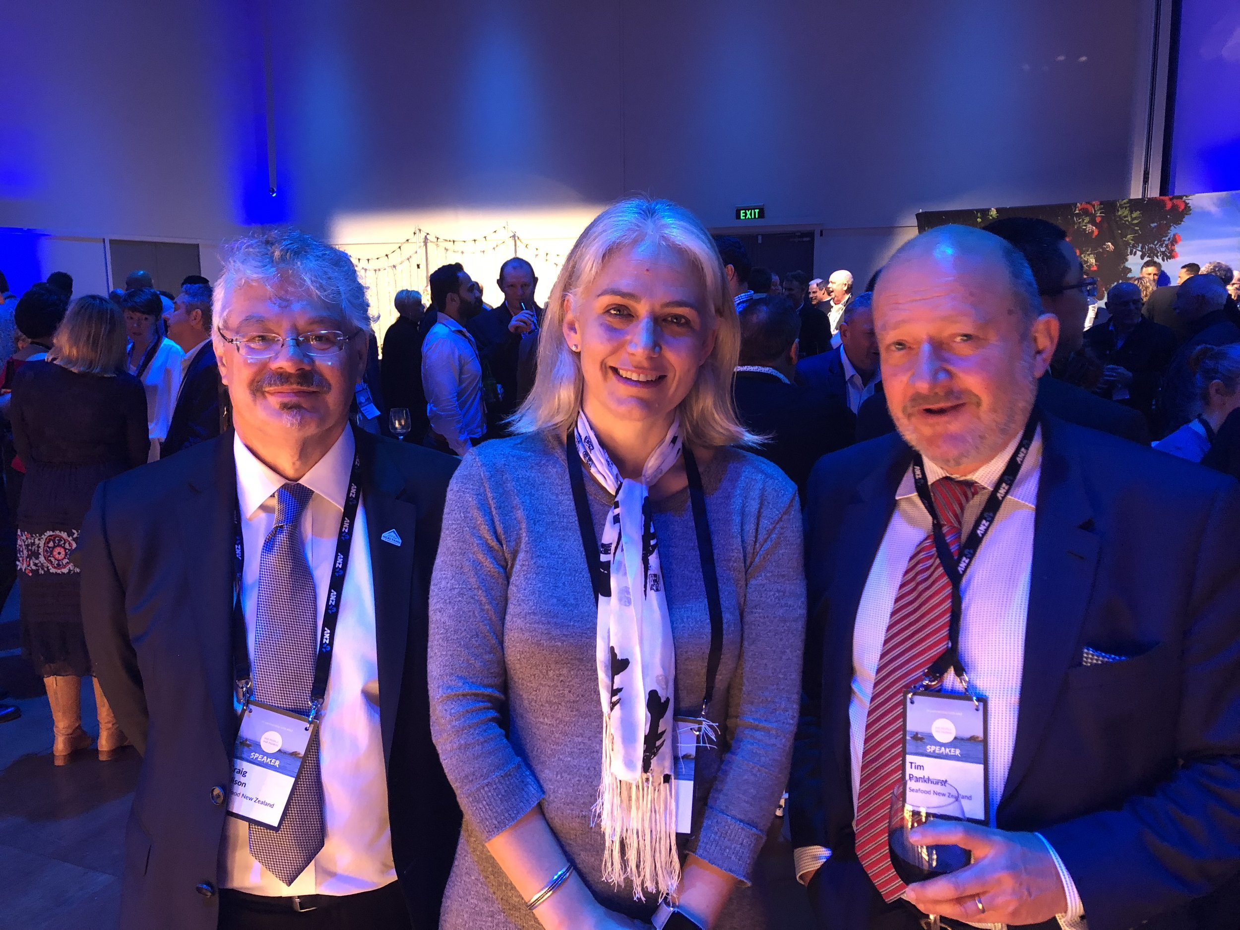 From left to right, Craig Ellison, Executive Chair Seafood New Zealand, Prof Moninya Roughan, Chief Scientist MetOcean Solutions, and Tim Pankhurst, Chief Executive Seafood New Zealand.