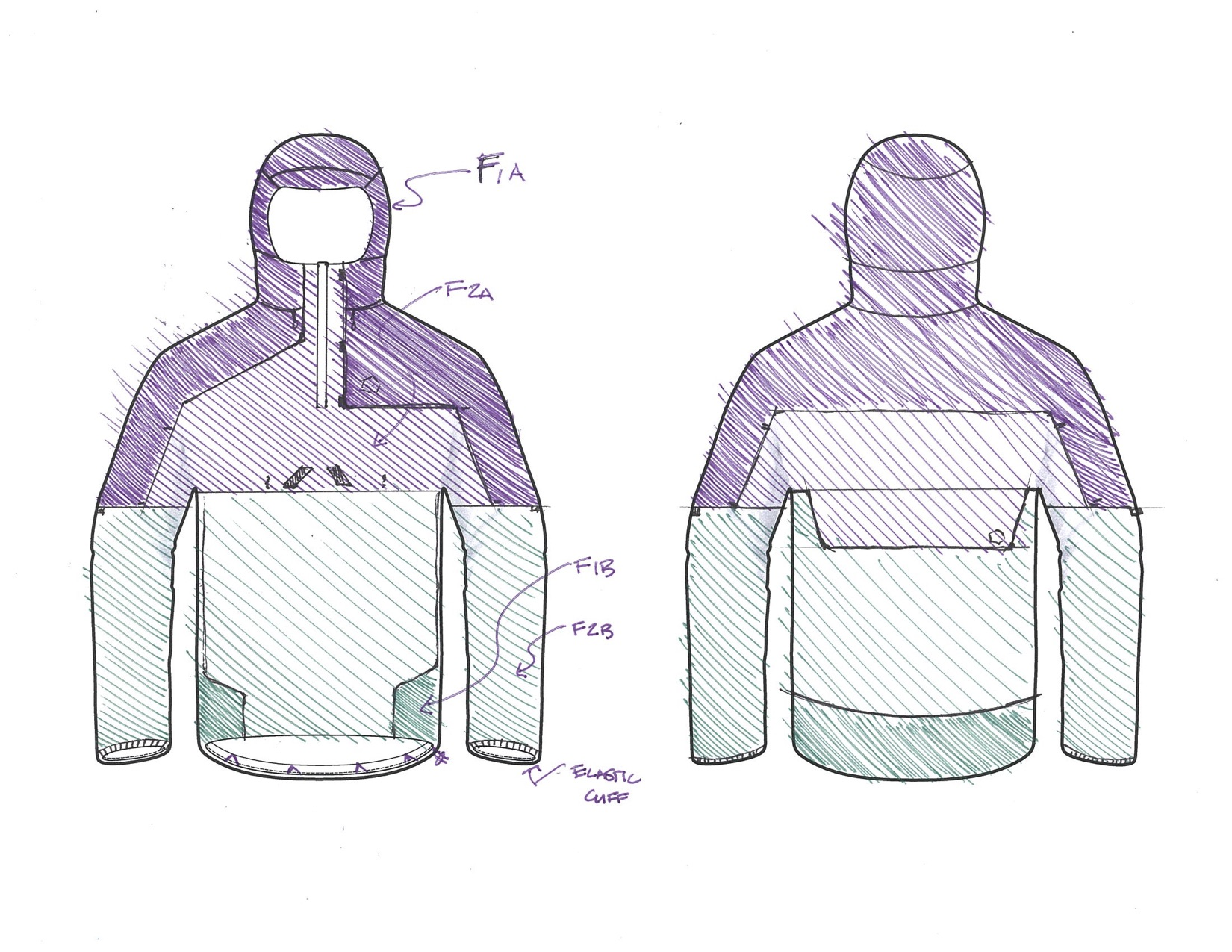 Design - After sufficient knowledge of material and construction techniques were gathered, the design on a garment began. During an internship at Mountain Hardwear, a jacket was developed that would compliment their existing ultralight hiking line. Additional research was done into the user needs and activity specifics.