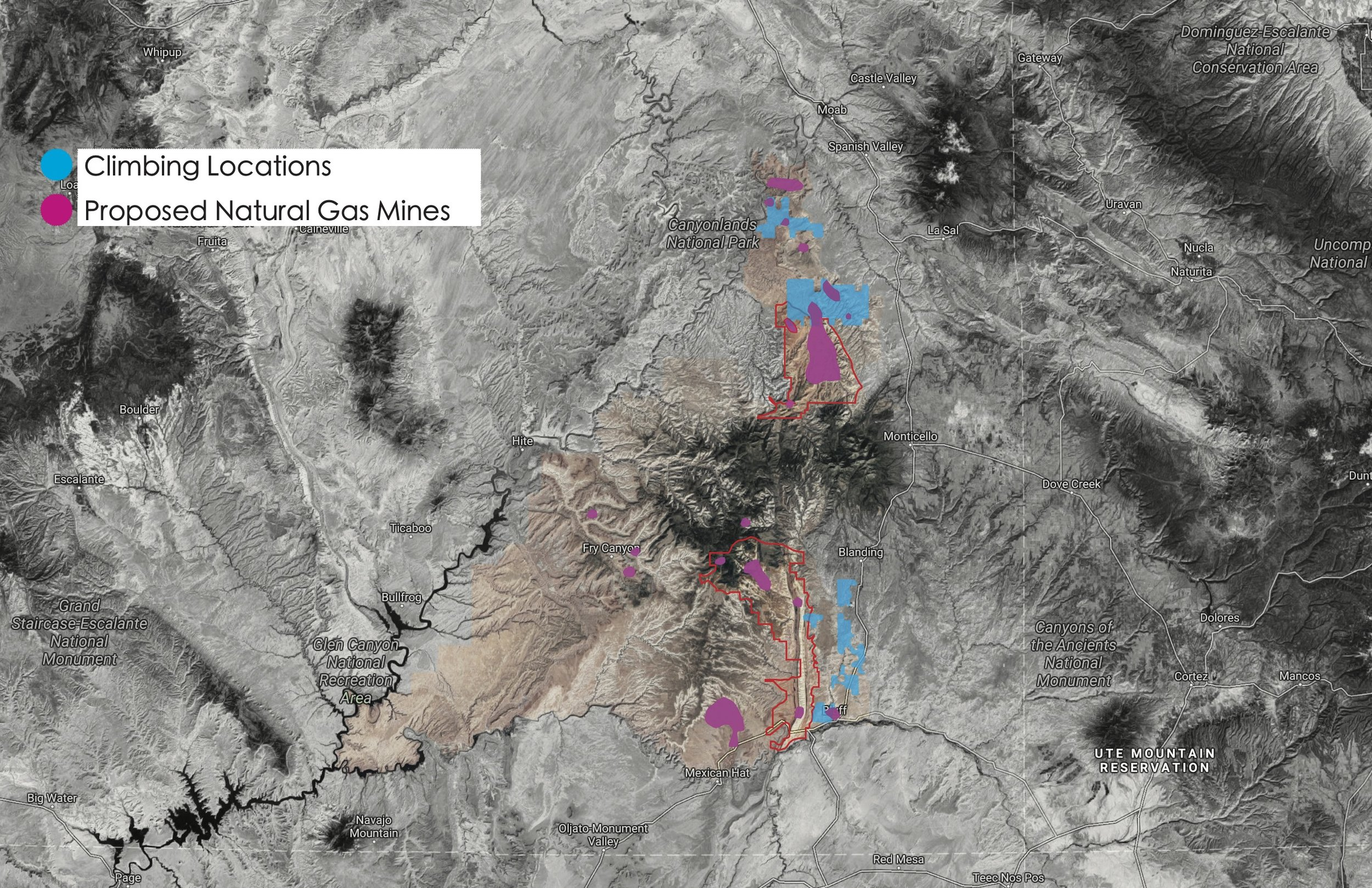 There is a large overlap between the popular climbing areas, like Indian Creek, and proposed mining operations.