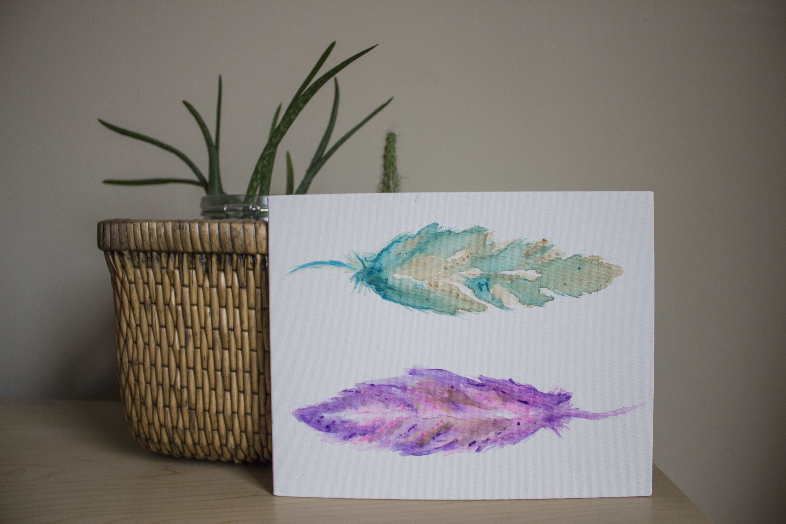 Watercolour Feathers 8in x 10in