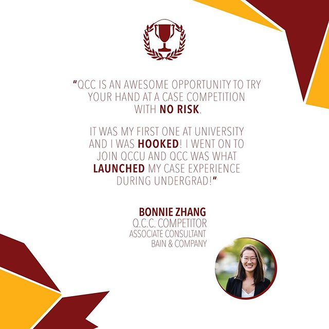Q.C.C. is only 8 days away! Here's what one of our previous QCC competitors, Bonnie Zhang, had to say about her experience competing at QCC!  Our Queen's Case Competition will be held on September 20th to 21st, 2019. QCC is a FREE case competiton and applications are now open on my.comsoc.ca (under Events). We invite all commerce students to compete in either the Maroon or Gold Stream, depending on your past case experience. This is a great way for first years to get some free case experience in a supportive environment!  More information can be found at www.icbcqueens.com and applications can be found at my.comsoc.ca (the ComSoc Event portal, which you can access with your Queen's NetID by creating an account) under Events. Any questions can be directed to our QCC director, Claire Zhou, at 16cyz@queensu.ca. We look forward to welcoming you to this amazing event!  Apply Now! Applications can be found in the link in our bio and are due September 16, 2019 at 11:59pm.  #liveloveicbc #queensu #smithschoolofbusiness @smithbusiness
