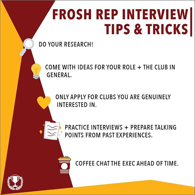 With I.C.B.C. Frosh Rep Apps due tomorrow, here are some tips & tricks to help you crush your interview!  Application: https://www.my.comsoc.ca/%E2%80%A6/icbc-first-year-representative-a  #liveloveicbc #smithschoolofbusiness #queensu