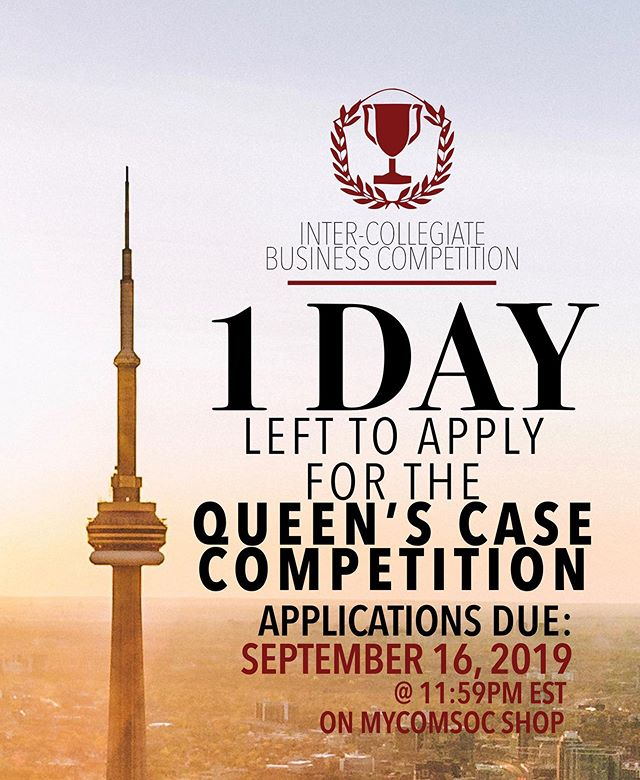 Applications for Queen's Case Competition are DUE TONIGHT at 11:59! Get your applications in, link in bio or in ComSoc shop under Events! Winners get a free brunch with Monitor Deloitte!  #liveloveicbc #queensu #smithschoolofbusiness