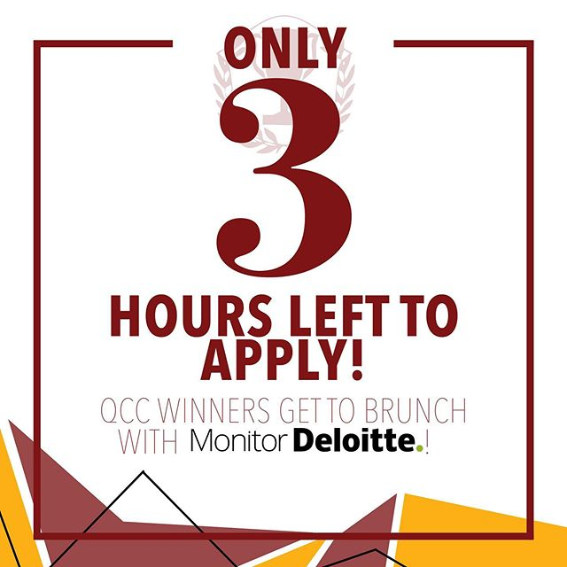 """JUST UNDER 3 HOURS TO APPLY!!! 3 words: Free, Sponsors, Learning.  3 words: Queen's Case Competition.  Applications for the Queen's Case Competition (QCC) close TONIGHT at 11:59pm!! Don't miss out on an amazing chance to get exposure to cases in a risk-free setting with amazing sponsors (i.e. McKinsey, BCG, EY, PwC, etc.) brought to Kingston to help you enhance your skills. No prior experience is expected! Whether you are kickstarting your time at Smith in the Maroon stream or kickstarting your recruit in the Gold stream, QCC is the perfect competition for you!  The FREE competition is open to all Queen's students! Apply quickly at COMSOC shop at http://my.comsoc.ca/ under """"Events"""" or in the link in our bio - applications close tonight at 11:59PM TONIGHT!!! #liveloveicbc #queensu #smithschoolofbusiness @smithbusiness"""