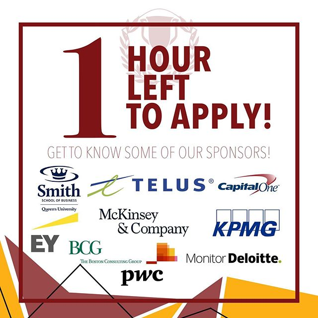 """ONE!!! HOUR!!! LEFT!!! Here are some of our amazing sponsors for QCC weekend! Come out and get to know some of these amazing companies!  Whether you are breaking in your case experience in the Maroon stream or kickstarting your recruitment season in the Gold stream, QCC is the perfect competition for you!  The FREE competition is open to all Queen's students! Apply quickly at COMSOC shop at http://my.comsoc.ca/ under """"Events"""" or at https://my.comsoc.ca/events/queens-case-competition-qcc. Applications close at 11:59pm TONIGHT!  #liveloveicbc #queensu #smithschoolofbusiness @smithbusiness"""