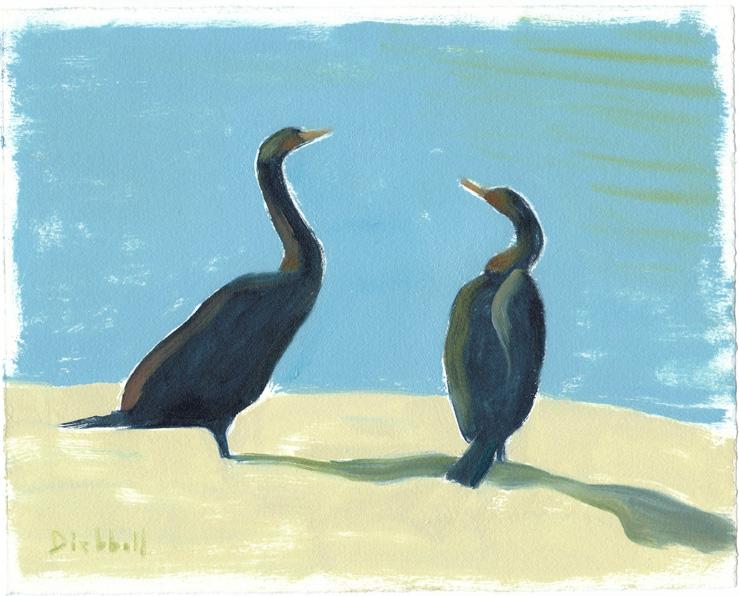 Cormorants, 8 x 10, oil paper