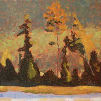 """Saranac River Eve   12"""" x 12""""  limited edition of 50  $220"""