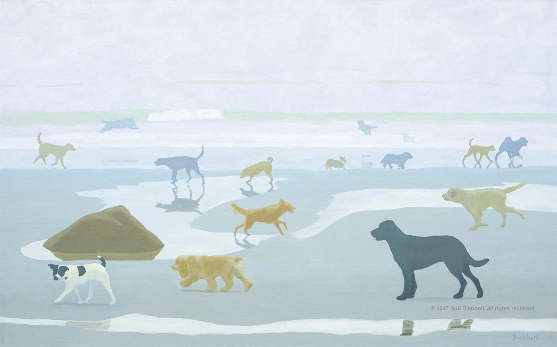 Dogs in Fog, 40 x 64, oil