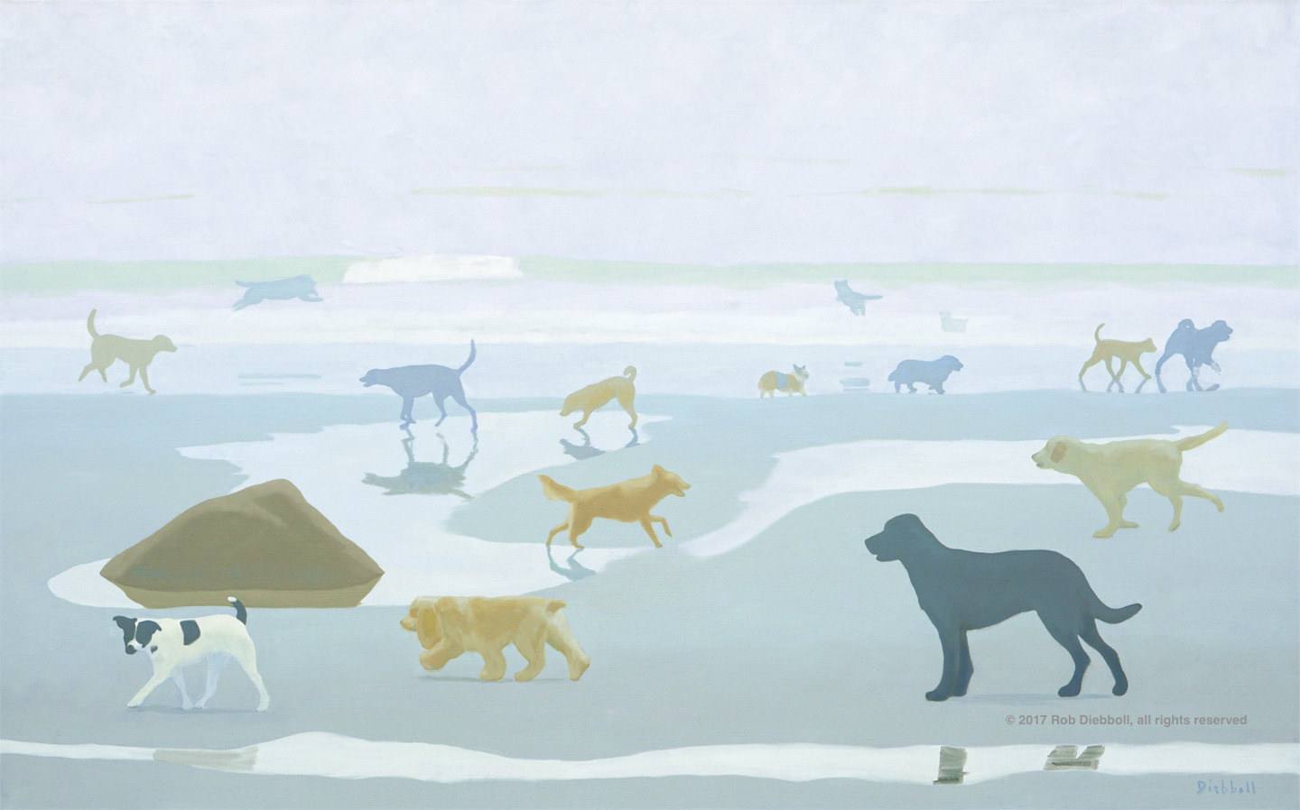 """Dogs in Fog   18.8"""" x 30""""  limited edition of 50  $400"""