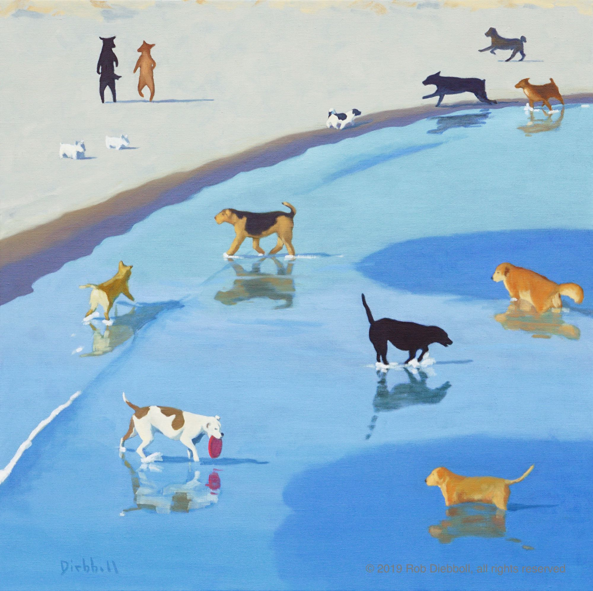 """Dog Dance"", 36 x 36, oil on linen (prints available)"