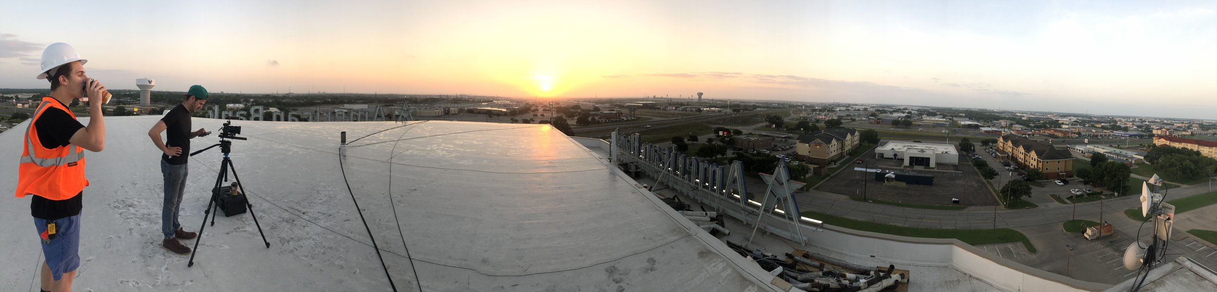 Sunrise on a high-rise. Josh and James grab a beautiful time-lapse while I chill out and take this pic.