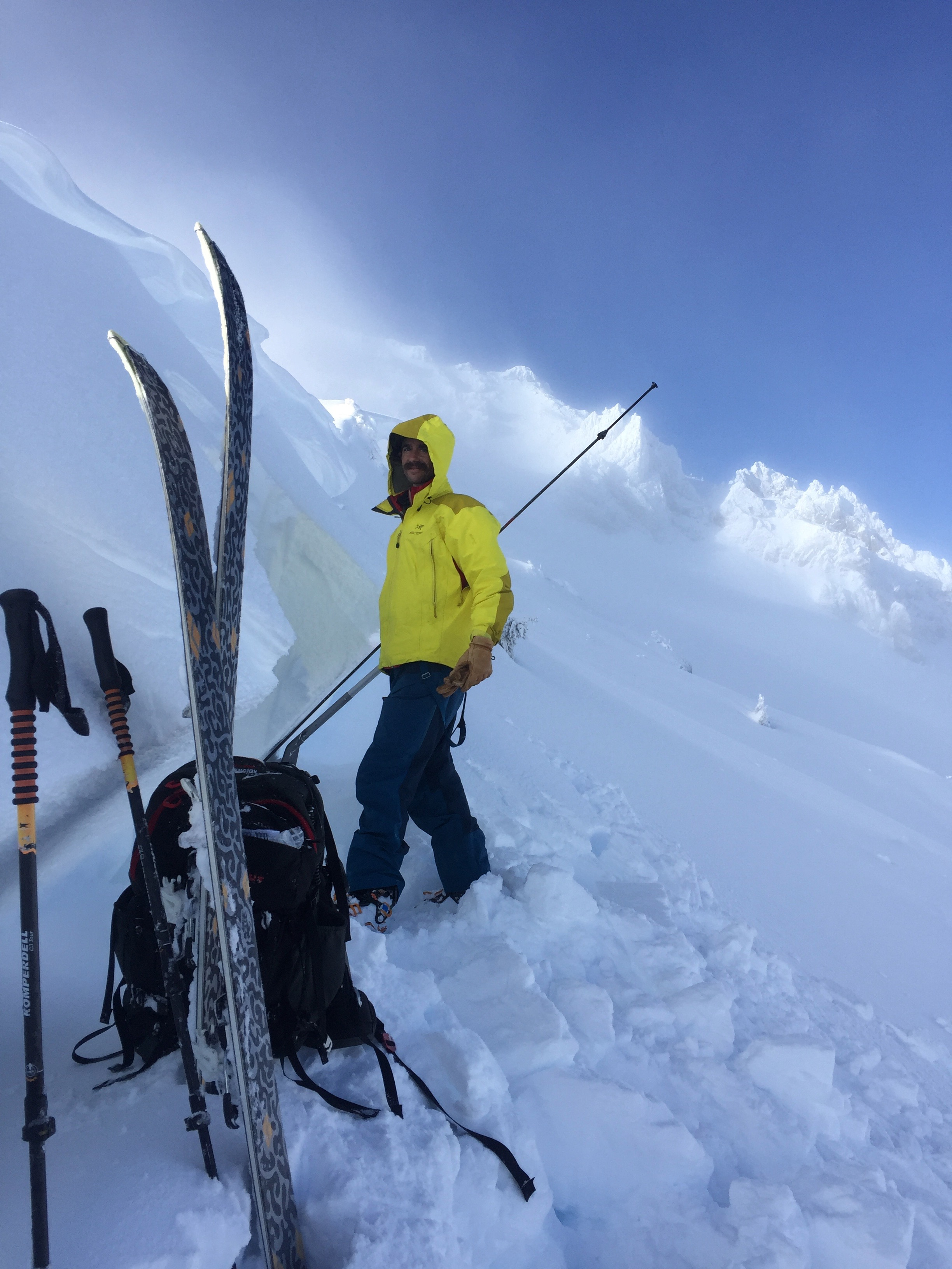 Nick Meyers, Director of the Mt. Shasta Avalanche Center examines the crown of a natural avalanche.  Ash Creek Butte, CA