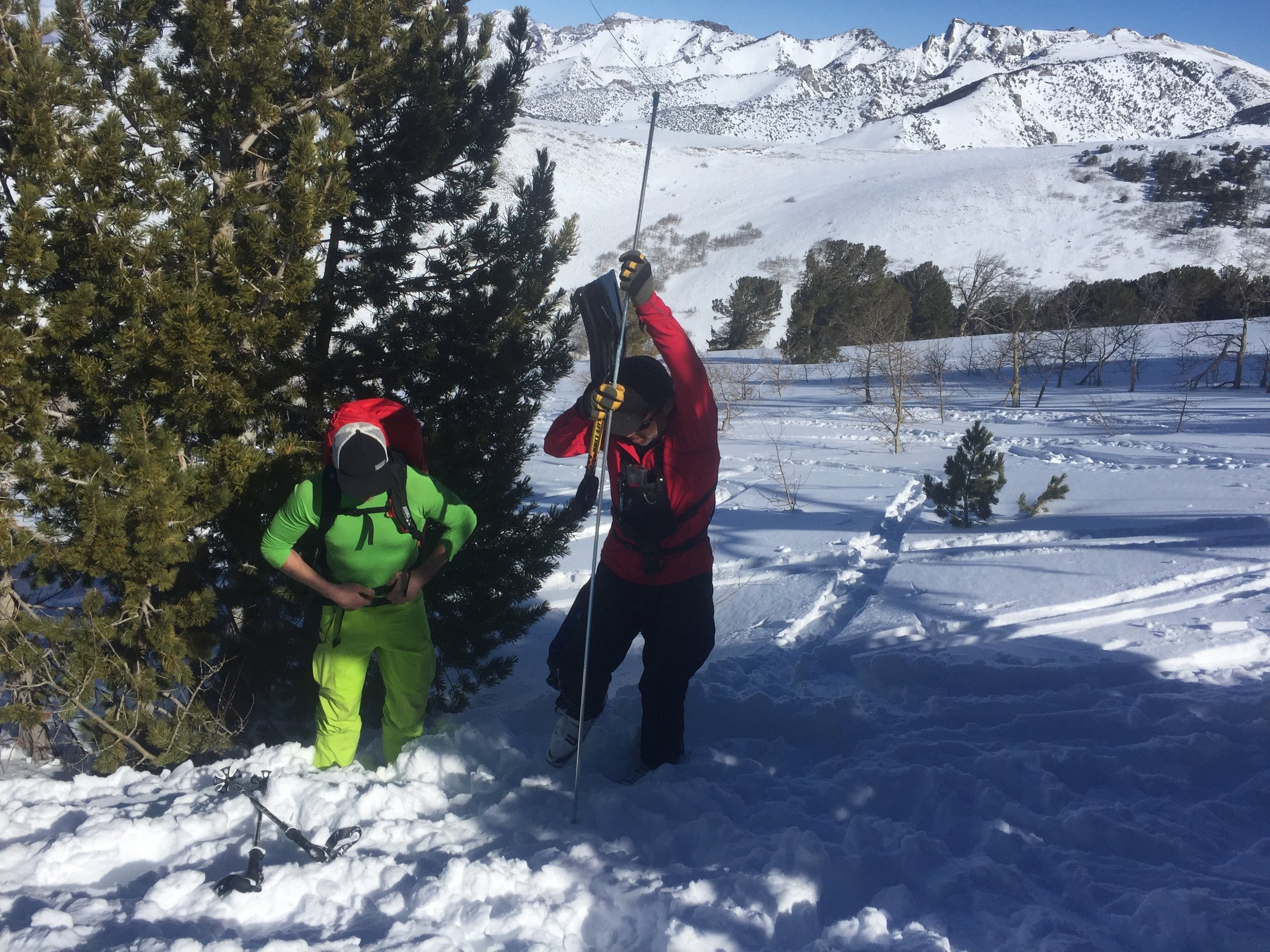 AIARE Level 2 students practice companion rescue in the Ruby Mountains, NV.
