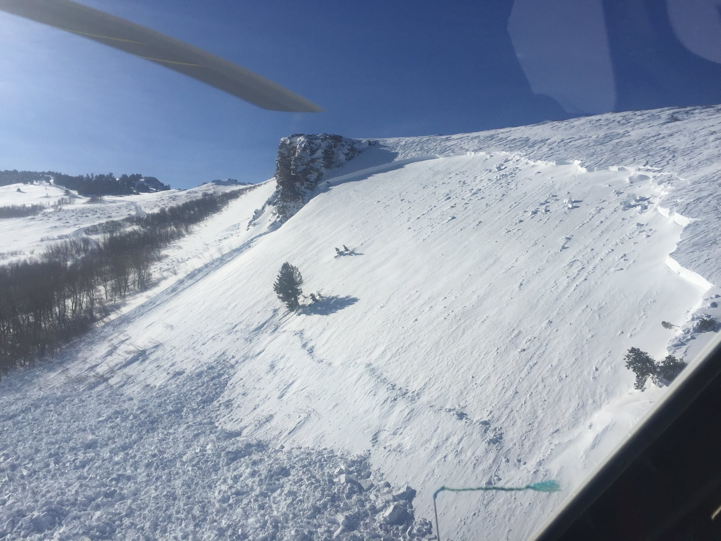 Natural Avalanche observations from the air after a wind event.  Photo courtesy of Ruby Mountain Heli Ski.