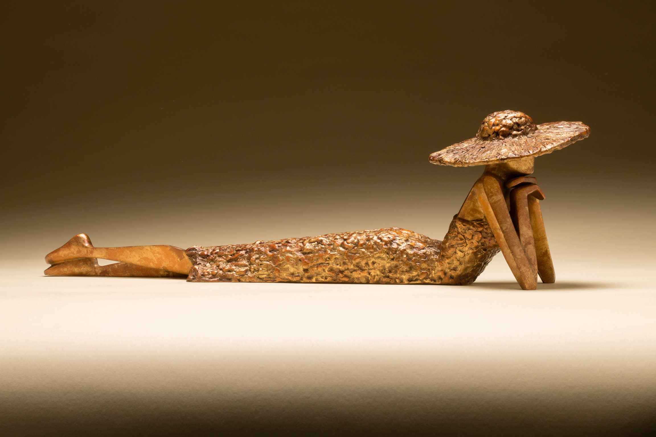 """Penny For Your Thoughts   16.5"""" L x 5"""" H x 4"""" W Bronze edition of 25"""