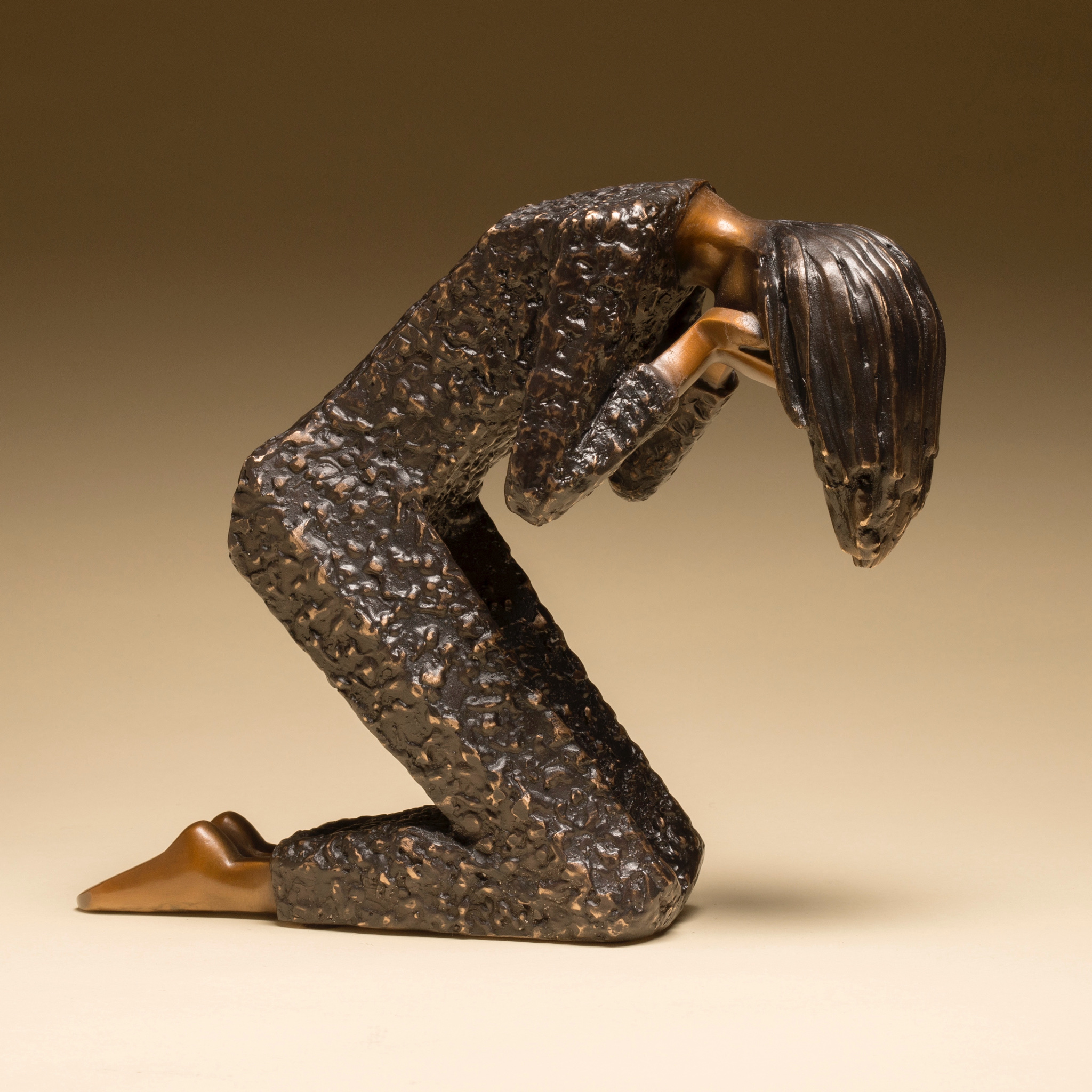 """Overcome   8"""" H x 10"""" L x 4"""" W Bronze edition of 25  (Click For More Information)"""