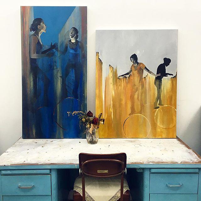 BALANCE #astopintura #painting #feminism #womencarryknives #duality #artist #art #studio #oilandacryliconcanvas