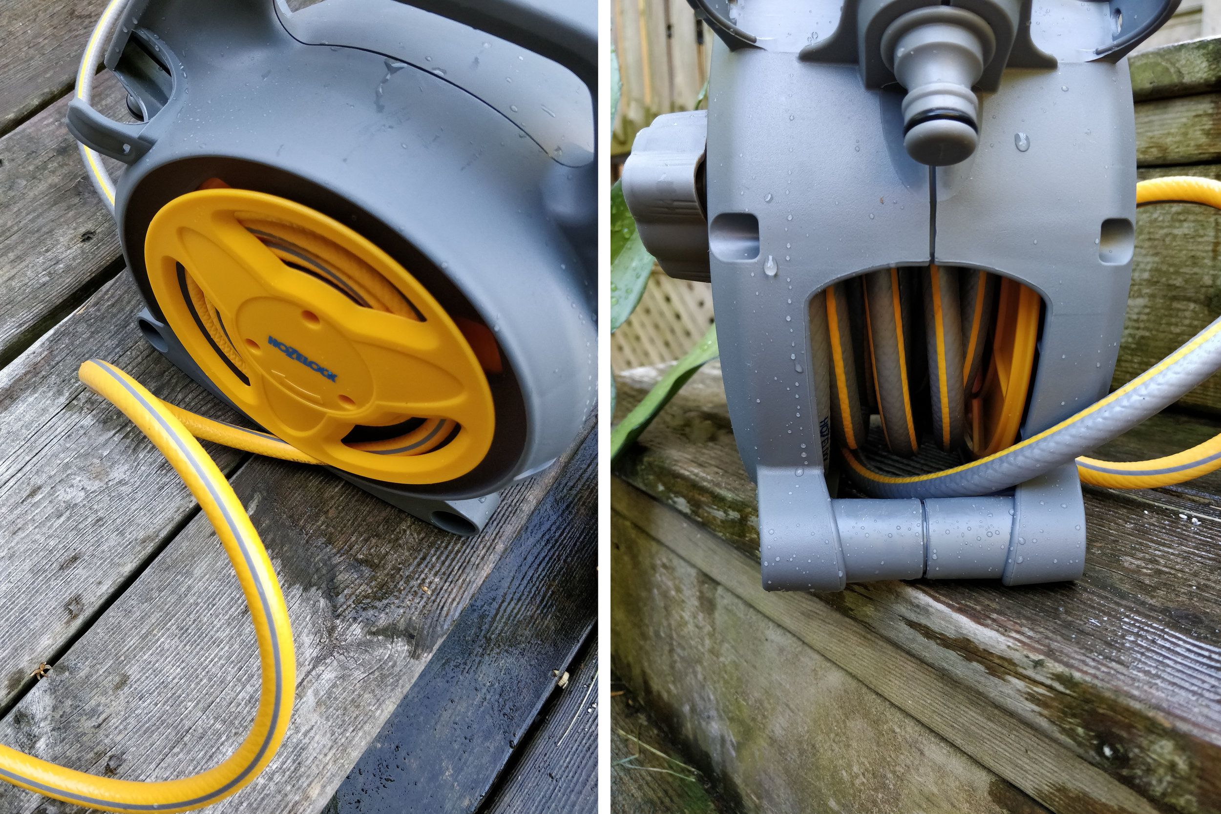 The yellow hose is 6-1/2' long and coils around a spool while the longer grey hose (26' long) wraps on the reel on the opposite side.  This gives you flexibility in using the hose: carry the reel with you or leave it as you walk to your plants.