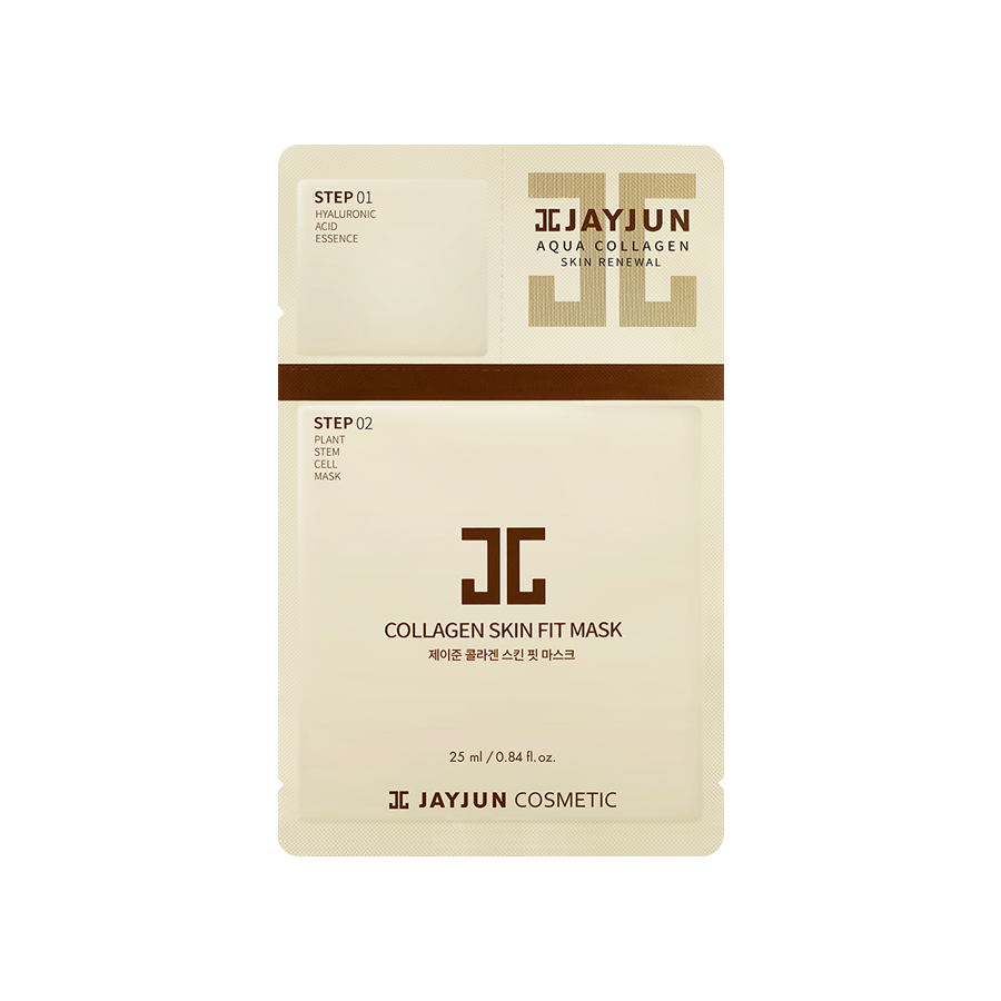 What is it?   The JayJun 2-Step Collagen Skin Fit Mask increases the skin's moisture levels, improves skin texture, smoothes wrinkles and slows down ageing of the skin.   How to use?   1. After cleansing, tone the skin.  2. On dry skin apply the Step 1 Hyaluronic Acid Essence and massage it evenly into face.  3. Apply the Step 2 Plant Stem Cell Mask Sheet and leave it on for 10-20 minutes.  4. Remove mask and pat any remaining essence into skin.