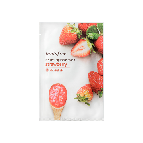 What is it?   The Innisfree It's Real Squeeze Mask (Strawberry) contains concentrated extracts from freshly squeezed strawberries to provide an immediate brightening effect that leaves skin soft and supple with a radiant glow.   How to use?   1. After cleansing, tone the skin.  2. Apply mask.  3. Leave on for 10 to 20 minutes.  4. Remove mask and pat any remaining essence into skin.
