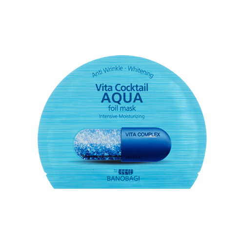 What is it?   The Banobagi Vita Cocktail Aqua Foil Mask contains a cocktail of concentrated vitamins and hydrolysed collagen to help combat aging and deeply moisturise skin.   How to use?   1. After cleansing, tone the skin.  2. Apply mask.  3. Leave on for 10 to 20 minutes.  4. Remove mask and pat any remaining essence into skin.