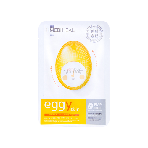 What is it?   The Mediheal Eggy Skin Firming Mask contains egg collagen and bladderwrack algae extract to boost the skin's elasticity and create a firming effect.   How to use?   1. After cleansing, tone the skin.  2. Apply mask.  3. Leave on for 10 to 20 minutes.  4. Remove mask and pat any remaining essence into skin.