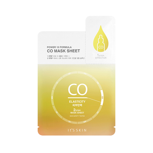 What is it?   The It's Skin Power 10 Formula CO Sheet Mask is a two step mask containing CO factor ingredients, carrot extract and plant ingredients to help restore skin's vitality and elasticity.   How to use?   1. After cleansing, apply the Step 1 ampoule to the face.  2. Apply the mask - Step 2.  3. Leave on for 15 to 20 minutes.  4. Remove mask and pat any remaining essence into skin.
