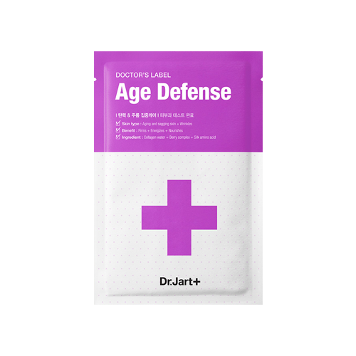 What is it?   The Dr. Jart Doctor's Label Age Defense Sheet Mask helps improve the skin's elasticity, the appearance of fine lines and wrinkles whilst delivering hydration deep into the skin. The active ingredients in this mask are collagen water, berry complex and silk amino acid.   How to use?   1. After cleansing, tone the skin.  2. Apply mask with liner side to the skin.  3. Leave on for 10 to 20 minutes.  4. Remove mask and pat any remaining essence into skin.