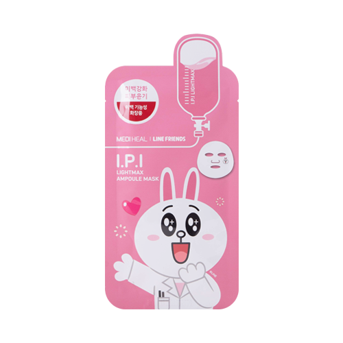 What is it?   The Mediheal Line Friends I.P.I. Lightmax Ampoule Mask contains ingrediends like Niacinamide to help treat dark spots and acne scars, while Ascorbyl Glucoside, Morus Alba Bark extract and Pearl extract deliver a remarkable brightening effect to the skin.   How to use?   1. After cleansing, tone the skin.  2. Apply mask.  3. Leave on for 10 to 20 minutes.  4. Remove mask and pat any remaining essence into skin.