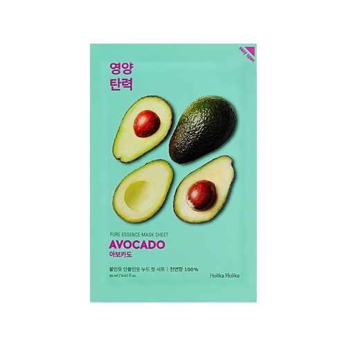 What is it?   The Holika Holika Pure Essence Avocado Sheet Mask is a soothing sheet mask with avocado extract that helps combat skin flakiness, inflammation and redness. It also helps to moisturise, nourish and restore the skin's protective barrier.   How to use?   1. After cleansing, tone the skin.  2. Apply mask.  3. Leave on for 10 to 20 minutes.  4. Remove mask and pat any remaining essence into skin.