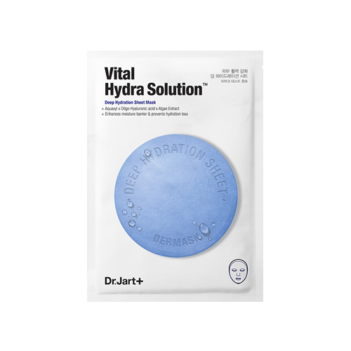 What is it?   The DR. JART+ Dermask Water Jet Vital Hydra Solution Mask contains a patented ingredient derived from plant glucose and xylitol, as well as hyaluronic acid and algae extract to help protect and strengthen the skin's moisture barrier.    How to use?   1. Cleanse and apply toner.  2. Peel off, discard the film liner, and apply mask adjusting around eyes and mouth.  3. Leave on for 10 to 20 minutes.  4. Remove the mask and gently pat remaining serum until fully absorbed.