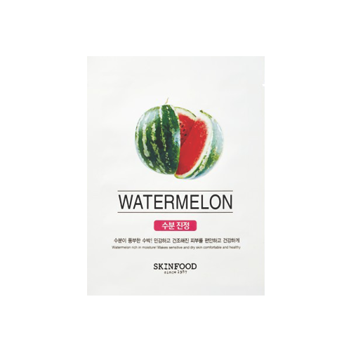 What is it?   The Skinfood Beauty in a Food Mask Sheet (Watermelon) contains watermelon extract to intensely moisturise the skin and provide a soothing effect. Watermelon as an ingredient is known for its anti-inflammatory properties making it ideal for calming sensitive and irritated skin.   How to use?   1. After cleansing, tone the skin.  2. Apply mask  3. Leave on for 10 to 20 minutes.  4. Remove mask and pat any remaining essence into skin.