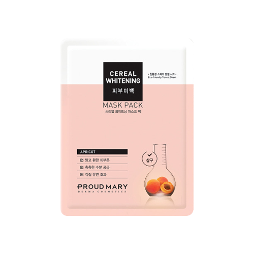 What is it?   The Proud Mary Cereal Whitening Sheet Mask helps brighten the skin tone with Apricot fruit extract and Apricot seed powder. The highly concentrated essence moisturises the skin while also helping to remove dead skin cells to reveal a smoother and brighter complexion.   How to use?   1. After cleansing, tone the skin.  2. Apply mask.  3. Leave on for 10 to 20 minutes.  4. Remove mask and pat any remaining essence into skin.