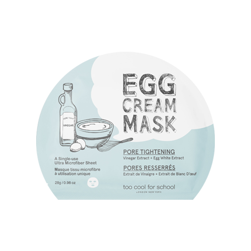 What is it?   The Too Cool For School Egg Cream Mask Pore Tightening is perfect for oily, blemish-prone skin. It contains highly concentrated Albumen extract and Vinegar to minimise the appearance of pores and leave your skin smooth and supple.   How to use?   1. After cleansing, tone the skin.  2. Apply mask.  3. Leave on for 10 to 20 minutes.  4. Remove mask and pat any remaining essence into skin.