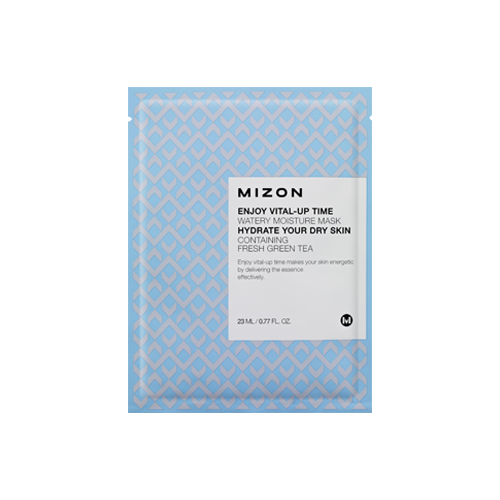 What is it?   The Mizon Enjoy Vital-Up Time Watery Moisture Mask is the perfect remedy for dry skin. It contains Allantoin, Hyaluronic Acid and Green Tea to flood the skin with hydration, and restore vitality and glow to dehydrated complexions.   How to use?   1. After cleansing, tone the skin.  2. Apply mask.  3. Leave on for 15 to 20 minutes.  4. Remove mask and pat any remaining essence into skin.